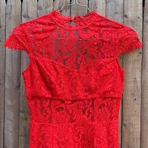 SAYLOR Red Lace Dress